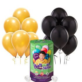 Helium Tank with Black and Gold Balloons