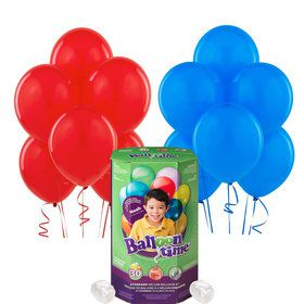 Helium Tank with Blue and Red Balloons