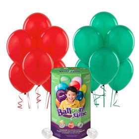 Helium Tank with Red and Green Balloons