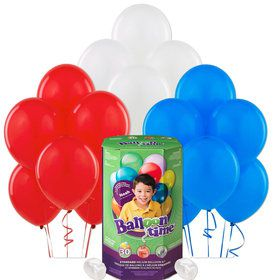Helium Tank with Red, White, and Blue Balloons