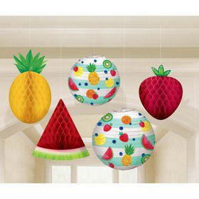 Hello Summer Honeycomb Hanging Fruit & Paper Lanterns