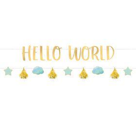 Hello World Blue Ribbon Banner