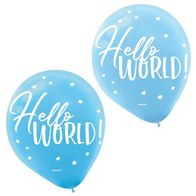"Hello World Boy 12"" Latex Balloons (15)"
