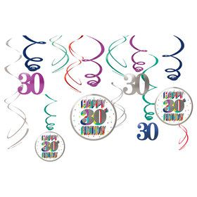 Here's to Your 30th Birthday Hanging Swirl Decorations