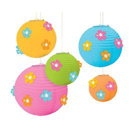 Hibiscus Paper Lanterns W/ Flower Add-Ons (Each)