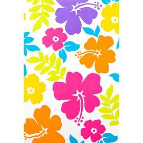 Hibiscus White Plastic Table Cover (Each)