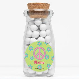 "Hippie Chick Personalized 4"" Glass Milk Jars (Set of 12)"