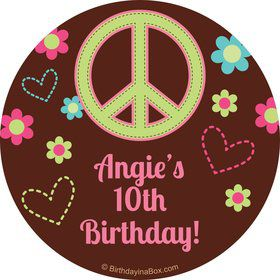 Hippie Chick Personalized Stickers (Sheet Of 12)