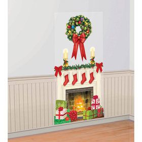 Holiday Fireplace Scene Setter Wall Decoration
