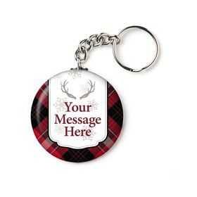 "Holiday Plaid Personalized 2.25"" Key Chain (Each)"