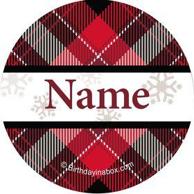 Holiday Plaid Personalized Mini Stickers (Sheet of 24)