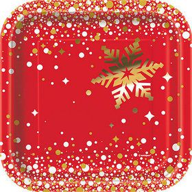 "Holiday Snowflake 7"" Plates (8)"