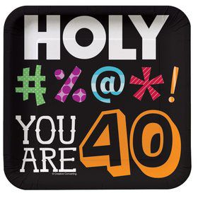Holy Bleep 40th Birthday Cake Plates