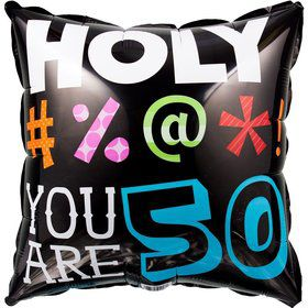 HOLY BLEEP 50TH BIRTHDAY METALLIC BALLOON