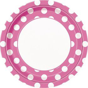 "Hot Pink Dots 9"" Luncheon Plates (8 Pack)"