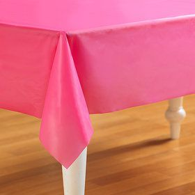 Hot Pink Plastic Tablecover (Each)
