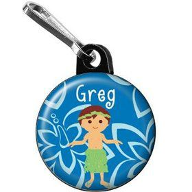 Hula Boy Personalized Mini Zipper Pull (each)