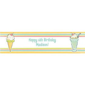 Ice Cream Party Personalized Banner (each)