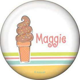 Ice Cream Party Personalized Button (each)