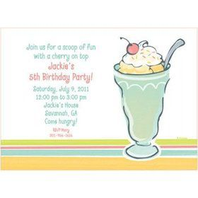 Ice Cream Party Personalized Invitation (each)