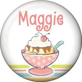 Ice Cream Party Personalized Mini Button (each)