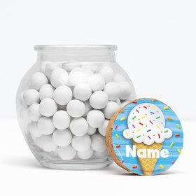 "Ice Cream Personalized 3"" Glass Sphere Jars (Set of 12)"