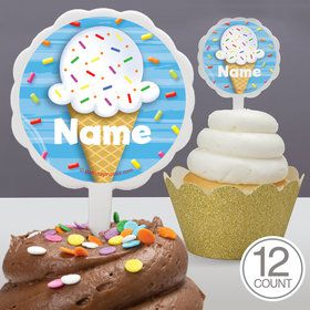 Ice Cream Personalized Cupcake Picks (12 Count)