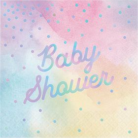 Iridescent 'Baby Shower' Luncheon Napkin (16)