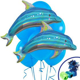Iridescent Blue Dolphin Jumbo Balloon Bouquet