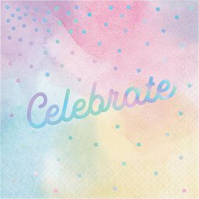 Iridescent 'Celebrate' Luncheon Napkin (16)