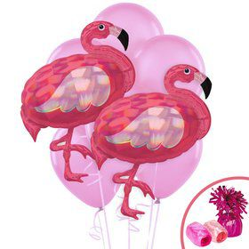 Iridescent Pink Flamingo Jumbo Balloon Bouquet