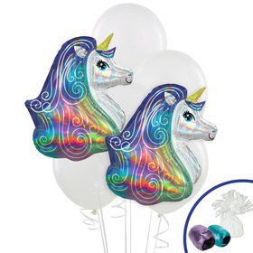 Iridescent Rainbow Unicorn Jumbo Balloon Bouquet