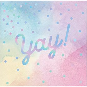 Iridescent 'YAY!' Beverage Napkin (16)