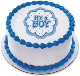 "It's a Boy 7.5"" Round Edible Cake Topper (Each)"