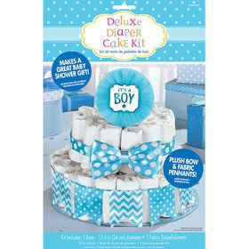 It's a Boy Blue Baby Shower Diaper Cake Decorating Kit