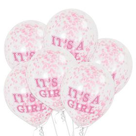 It's A Girl Clear Latex Birthday Balloons With Pink Confetti (6 Count)