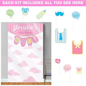 It's a Girl Personalized Photo Backdrop Kit