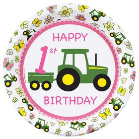 Pink Farm Tractor Party Supplies- Kids Party Supplies & Party Ideas ...
