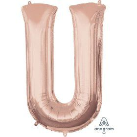 Jumbo Rose Gold Letter 33 Foil Balloon - U