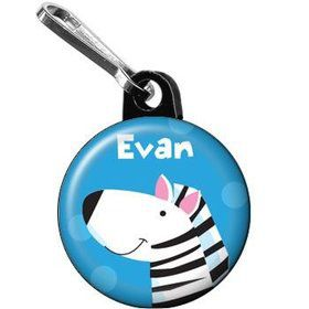 Jungle Animals - Zebra Personalized Mini Zipper Pull (each)