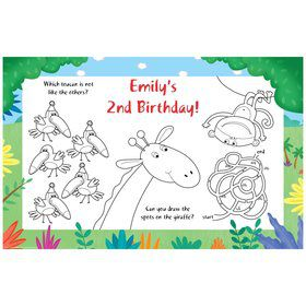 Jungle Party Personalized Activity Mats (8-Pack)