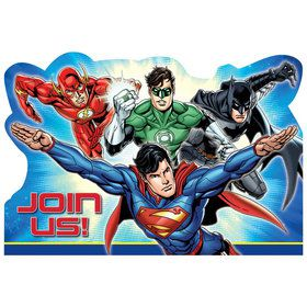 Justice League Postcard Invitations (8 Count)