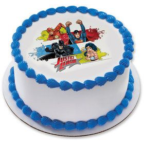 Justice League Team Unite 75 Round Edible Cake Topper