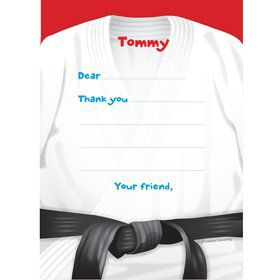 Karate Personalized Thank You Note (each)
