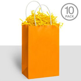 Kraft Handle Bags Orange (10 Pack)