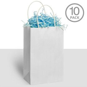 Kraft Handle Bags White (10 Pack)