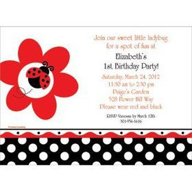 Ladybug Party Personalized Invitation (each)