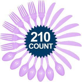Lavender Cutlery Set (210 Pack)