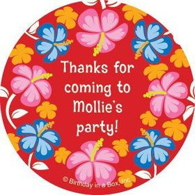 Let's Luau Personalized Stickers (sheet of 12)