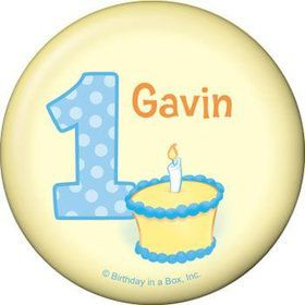 Lil' Boy 1st Birthday Personalized Button (each)